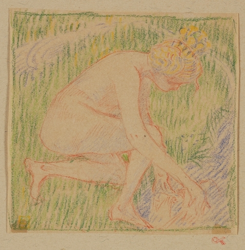 "Carl KRENEK - Dibujo Acuarela - ""Bather"" by Carl Krenek, ca 1900"