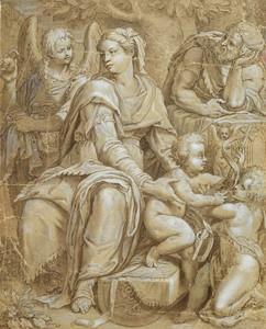 Orazio SAMACCHINI - Drawing-Watercolor - Sainte Famille avec ange