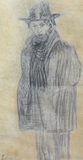 Maximilien LUCE - Dibujo Acuarela - Portrait présumé de Félix Fénéon