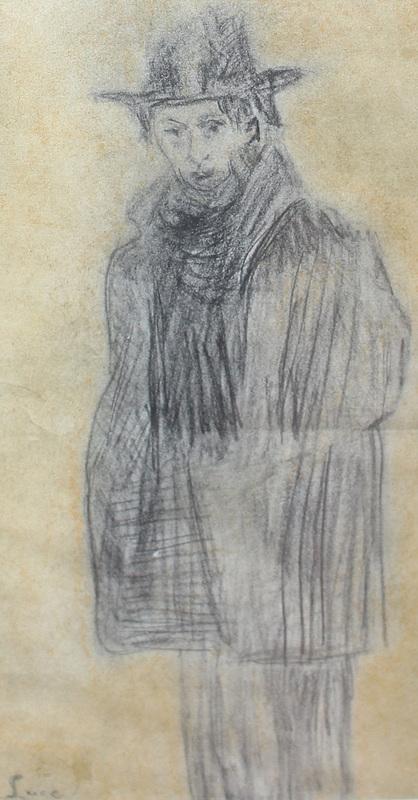 Maximilien LUCE - Dessin-Aquarelle - Portrait présumé de Félix Fénéon