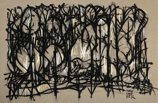 Stéphane CAUCHEFER - Disegno Acquarello - Cheval en forêt