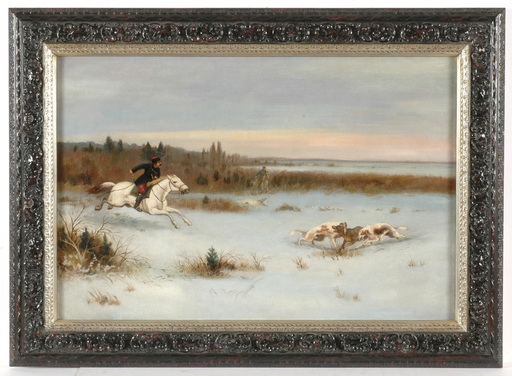 """Sergei Semenovich VOROSHILOV - Pintura - Sergei Semenovich Voroshilov - Attrib., """"Wolf hunting"""""""