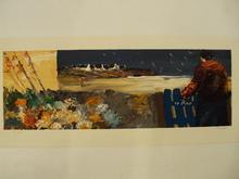 """Christian SANSEAU - Grabado - """"Fleurs et village en Bretagne"""" 1989"""