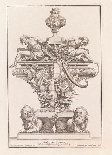 "Jeremias WOLFF - Gemälde - ""Baroque Sculpture Design"", German Engraving, Early 18th C"