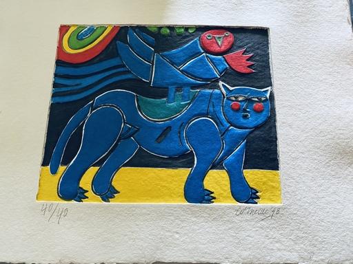 CORNEILLE - Estampe-Multiple - Blauer Vogel mit Katze