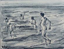 马克斯•利伯曼 - 版画 - Bathing Boys | Badende Jungen
