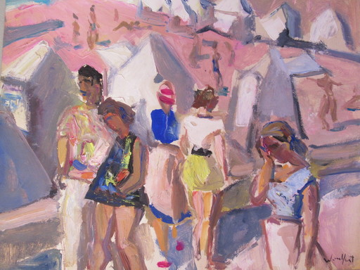 Marius WOULFART - Painting - Scène de plage
