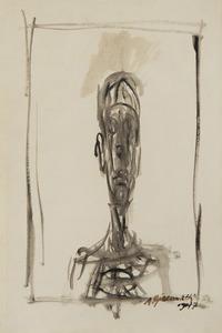 Alberto GIACOMETTI - Dessin-Aquarelle - Buste d'homme