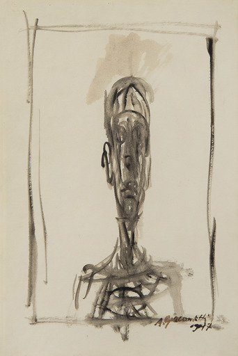 Alberto GIACOMETTI - Drawing-Watercolor - Buste d'homme