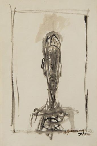 Alberto GIACOMETTI - Dibujo Acuarela - Buste d'homme