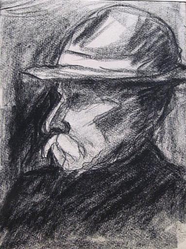 Friedrich EINHOFF - Drawing-Watercolor - #20003: Mann mit Hut.