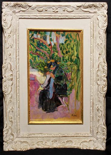 Jean PESKÉ - Painting - Nähende Frau im Garten