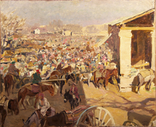 Alessio ISSUPOFF - Painting - market in samarcanda