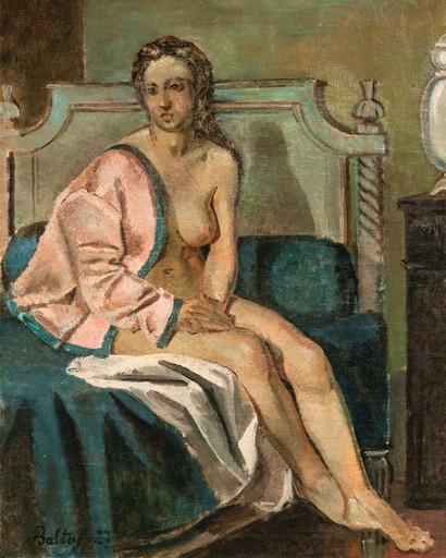 BALTHUS - Painting - Nu à la veste rose