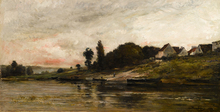 Charles François DAUBIGNY - Painting - Bords de l'Oise le soir
