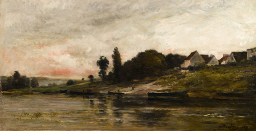 Charles François DAUBIGNY - Pintura - Bords de l'Oise le soir