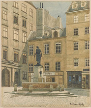 "Ferdinand ZACH - Drawing-Watercolor - ""Franziskanerplatz in Vienna""  ca 1900"
