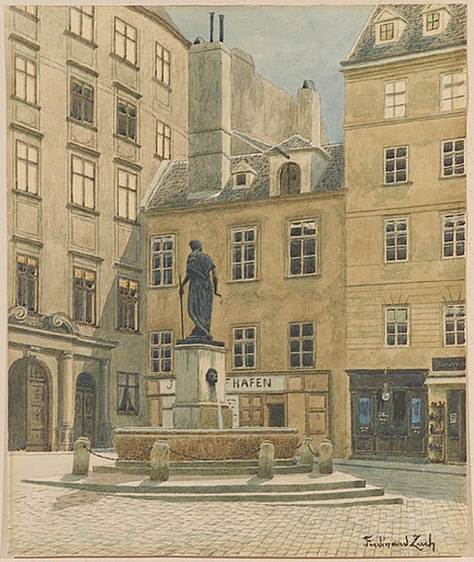 "Ferdinand ZACH - Drawing-Watercolor - ""Franziskanerplatz in Vienna""  ca 1900"
