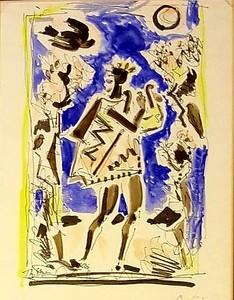 Théodore STRAVINSKY - Dessin-Aquarelle - ORPHÉE