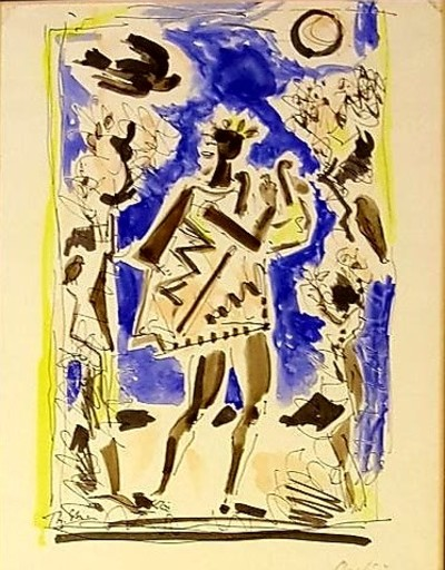 Théodore STRAVINSKY - Drawing-Watercolor - ORPHÉE