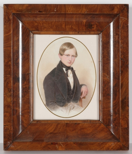"Emanuel Thomas PETER - Miniatura - ""Portrait of a Noble Boy"", 1850s, Watercolor"