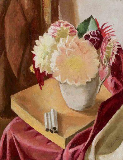 Marie-Louise VON MOTESICZKY - Peinture - Zigaretten am Tisch
