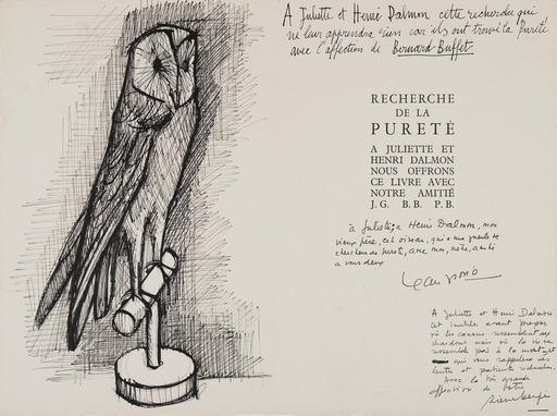 Bernard BUFFET - Dessin-Aquarelle - Chouette