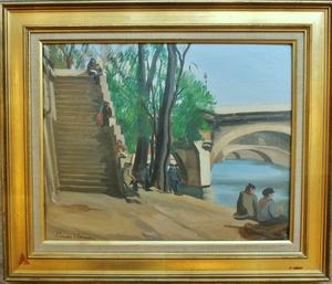 Claude CHEREAU - Painting - Quai à Paris