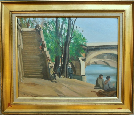 Claude CHEREAU - Painting - Quai à Paris