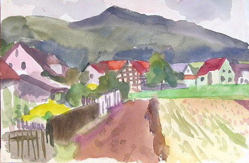Erich HARTMANN - Dibujo Acuarela - #19946: Dorfansicht.