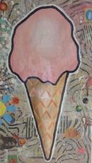 Donald BAECHLER - Pintura - Pink Cone (War ration)