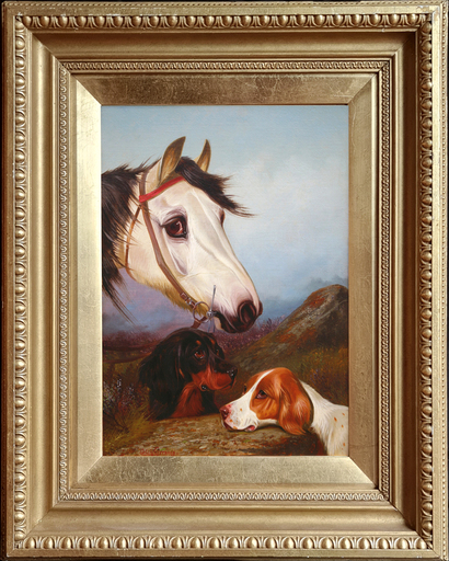 Colin GRAEME - Pittura - Head of a Grey Pony & Bay Pony with Two Setters (Pair)