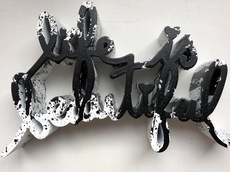 MR BRAINWASH - Escultura - Life Is Beautiful - Black Splatter