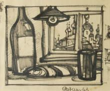 Oskar RABIN - Drawing-Watercolor - Still Life by Window