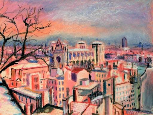 R.CAVALIÉ - Dessin-Aquarelle - Lyon. Saint-Jean sous la neige.