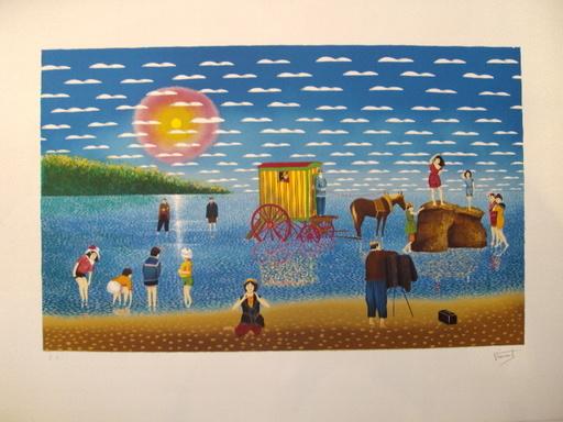Luc VINCENT - 版画 - Scéance photo à marée basse,1988