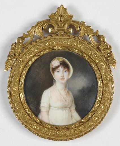 "François Antoine ROMANY - Disegno Acquarello - ""Young Lady in a Landscape"" important miniature, 1920s"