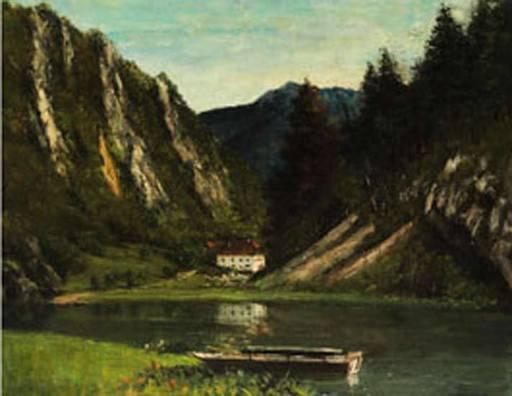 Gustave COURBET - Painting - Le Doubs à la Maison Monsieur