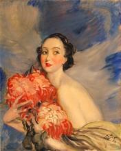 Jean Gabriel DOMERGUE - Pintura - RETRATO DE MUJER ELEGANTE