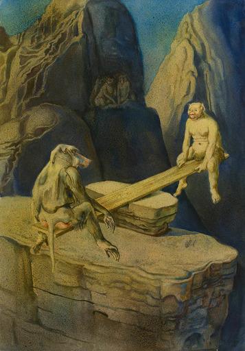 Rudolf SCHLICHTER - Disegno Acquarello - Affe und Fabelwesen auf einer Wippe