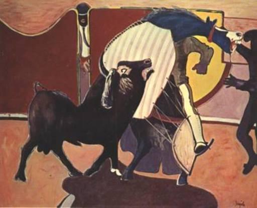 "Juan BARJOLA - Painting - "" El toro arremete contra el caballo"""