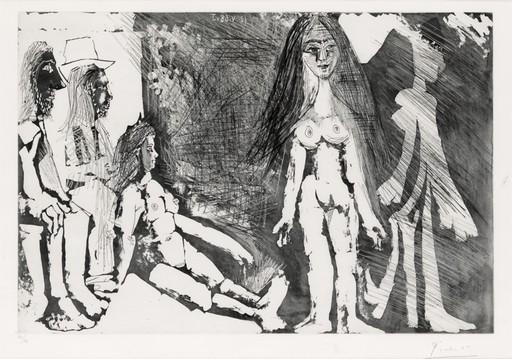 Pablo PICASSO - Grabado - Jeune File, Regardée par une Vielle Femme et Deux Hommes....