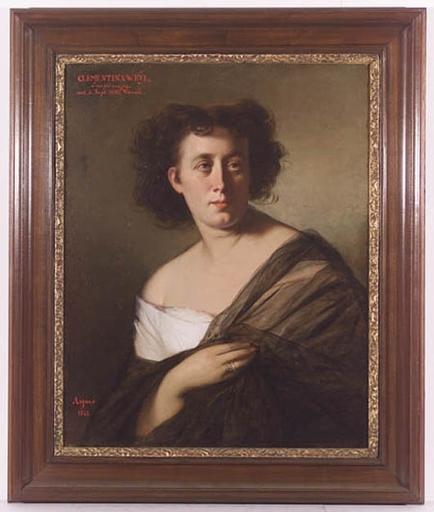 """Joseph Mathäus AIGNER - Peinture -  """"Portrait of Clementina Weyl"""", Oil on Canvas, 1865"""