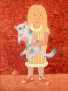 Roman ANTONOV - Painting - Girl with a cat