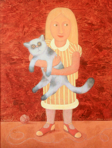 Roman ANTONOV - Gemälde - Girl with a cat