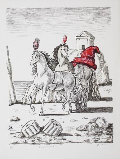 Giorgio DE CHIRICO - Stampa-Multiplo - I cavalli di Achille, 1971 prima versione