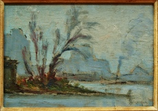 Narcisse HÉNOCQUE - Pittura - remorqueur sur la Seine, rouen