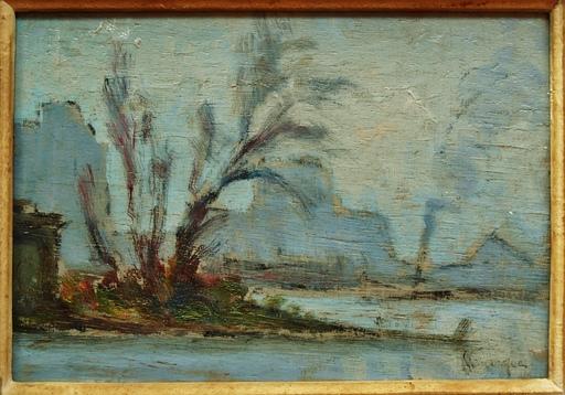 Narcisse HÉNOCQUE - Peinture - remorqueur sur la Seine, rouen