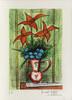 Bernard BUFFET - Print-Multiple - Bouquet de fleurs bleues et lys rouges sur fond vert