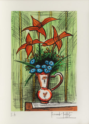 Bernard BUFFET - Grabado - Bouquet de fleurs bleues et lys rouges sur fond vert